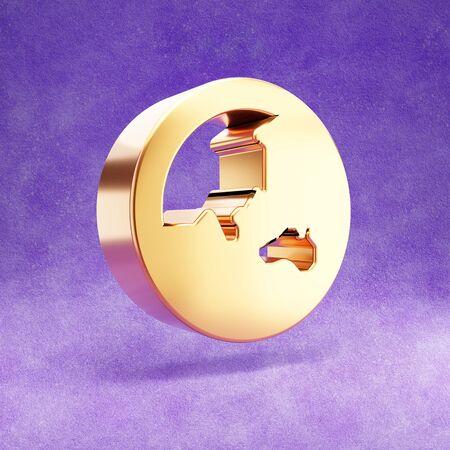 Earth globe icon. Gold glossy Earth globe symbol isolated on violet velvet background.
