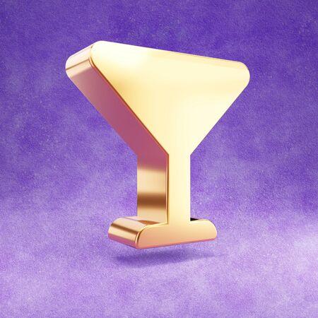 Margarita cocktail icon. Gold glossy Margarita cocktail symbol isolated on violet velvet background.