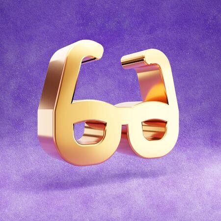 Glasses icon. Gold glossy Glasses symbol isolated on violet velvet background.