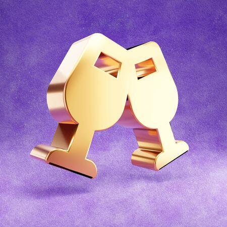 Shampagne glasses icon. Gold glossy glasses symbol isolated on violet velvet background. Stok Fotoğraf
