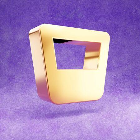 Whiskey glass icon. Gold glossy Whiskey glass symbol isolated on violet velvet background.
