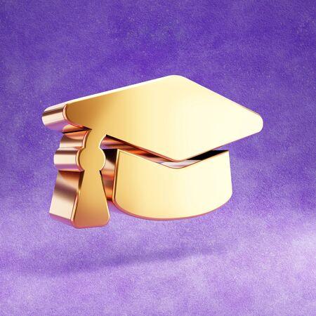 Academic cap icon. Gold glossy graduation cap symbol isolated on violet velvet background. Stok Fotoğraf