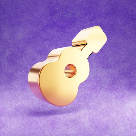 Guitar icon. Gold glossy Guitar symbol isolated on violet velvet background. Modern icon for website, social media, presentation, design template element. 3D render.