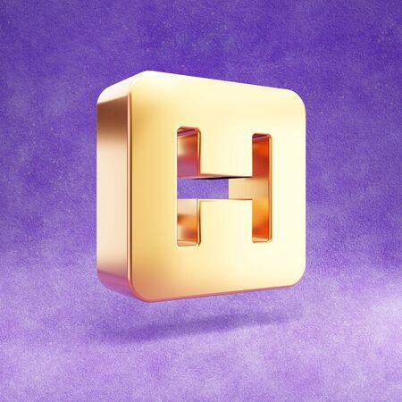Hospital icon. Gold glossy Hospital symbol isolated on violet velvet background.