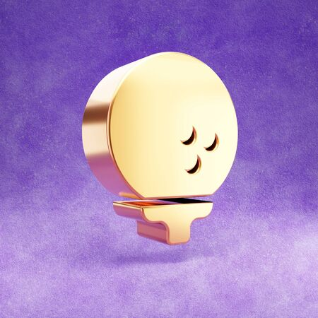 Golf icon. Gold glossy golf ball on a pin symbol isolated on violet velvet background.