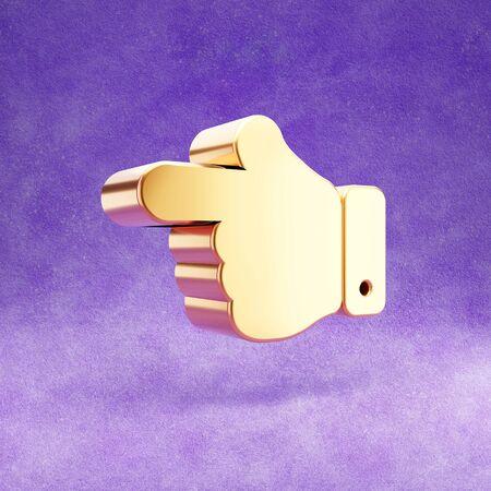 Hand point left icon. Gold glossy finger left symbol isolated on violet velvet background.