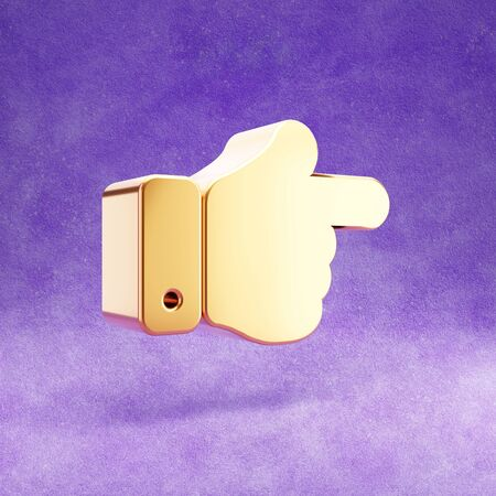 Hand point right icon. Gold glossy finger right symbol isolated on violet velvet background.