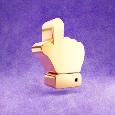 Hand point up icon. Gold glossy finger up symbol isolated on violet velvet background. Stok Fotoğraf