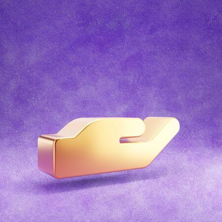 Holding hand icon. Gold glossy Holding hand symbol isolated on violet velvet background.