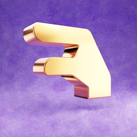 Hand Lizzard icon. Gold glossy Hand Lizzard symbol isolated on violet velvet background.