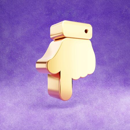 Hand point down icon. Gold glossy finger down symbol isolated on violet velvet background.