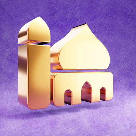 Mosque icon. Gold glossy Mosque symbol isolated on violet velvet background. Modern icon for website, social media, presentation, design template element. 3D render.