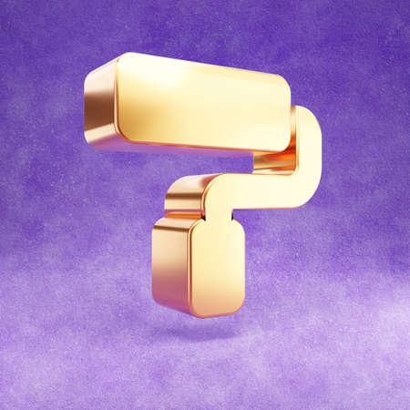 Paint roller icon. Gold glossy Paint roller symbol isolated on violet velvet background. Imagens