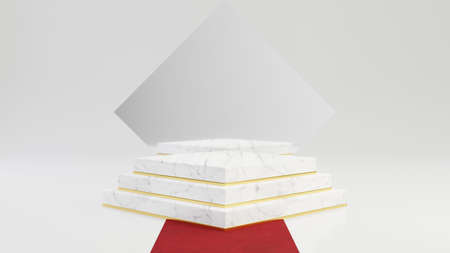 Rhombus marble pedestal steps with round gold frame with mirror and red carpet isolated on white background. 3d rendered minimalistic abstract background concept for product placement.