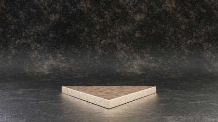 Golden triangle podium isolated on black metal background. 3d rendered minimalistic abstract background concept for product placement. Clean design, blank space mockup. Stock fotó