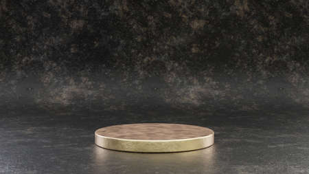 Golden round podium isolated on black metal background. 3d rendered minimalistic abstract background concept for product placement. Clean design, blank space mockup.