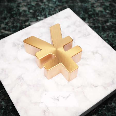 Yen icon. Bronze Yen symbol on white marble podium. Icon for website, social media, presentation, design template element. 3D render. Reklamní fotografie