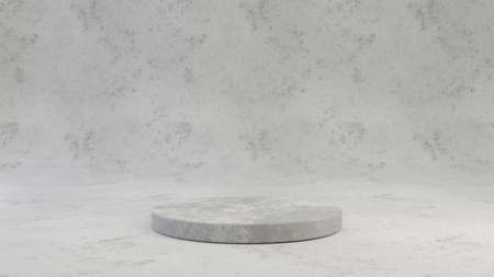 Concrete pedestal isolated on grey cement background. 3d rendered minimalistic abstract background concept for product placement. Minimal design mockup.