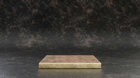 Golden square podium isolated on black metal background. 3d rendered minimalistic abstract background concept for product placement. Clean design, blank space mockup.