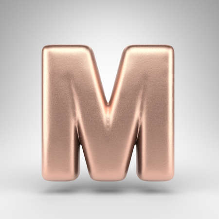 Letter M uppercase on white background. Matte copper 3D rendered font with shiny metallic texture.