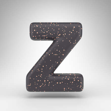 Letter Z uppercase on white background. Black matte 3D rendered font with copper dots texture. Stock fotó