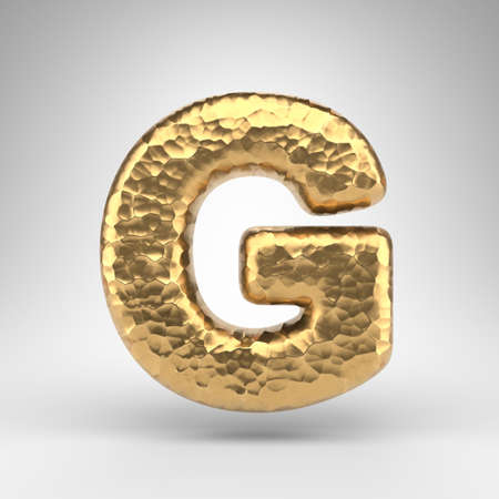 Letter G uppercase on white background. Hammered brass 3D rendered font with shiny metallic texture. Standard-Bild