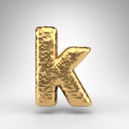 Letter K lowercase on white background. Hammered brass 3D rendered font with shiny metallic texture.