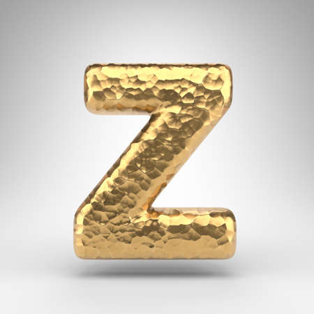 Letter Z uppercase on white background. Hammered brass 3D rendered font with shiny metallic texture.