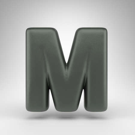 Letter M uppercase on white background. Anodized green 3D rendered font with matte texture.