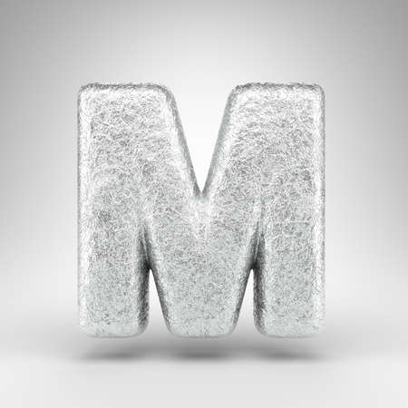 Letter M uppercase on white background. Creased aluminium foil 3D rendered font with gloss metal texture.