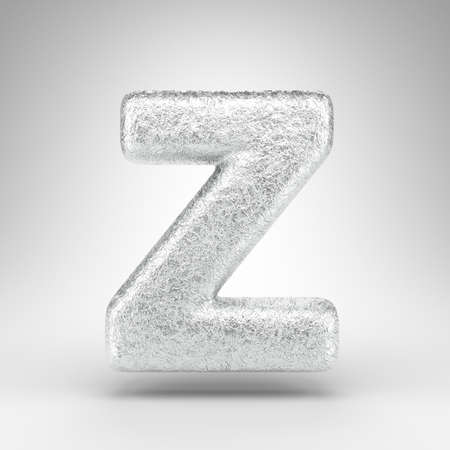 Letter Z uppercase on white background. Creased aluminium foil 3D rendered font with gloss metal texture.