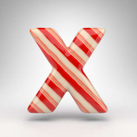 Letter X uppercase on white background. Candy cane 3D rendered font with red and white lines.