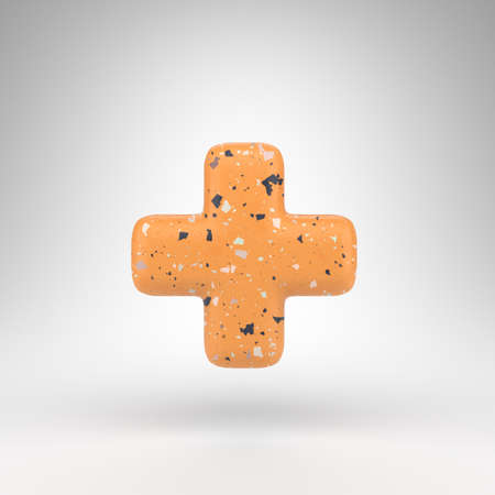Plus symbol on white background. 3D rendered sign with orange terrazzo pattern texture.