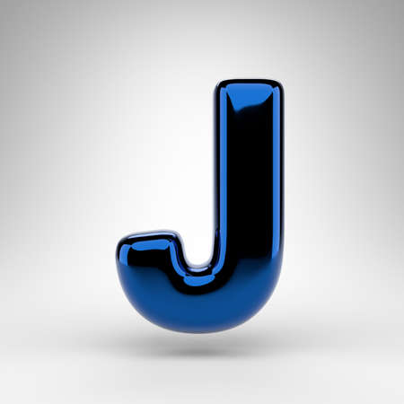 Letter J uppercase on white background. Blue chrome 3D rendered font with glossy surface. Stock fotó