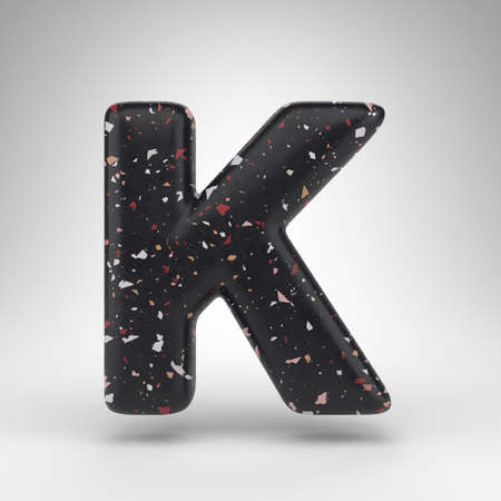 Letter K uppercase on white background. 3D rendered font with black terrazzo pattern texture.
