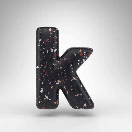 Letter K lowercase on white background. 3D rendered font with black terrazzo pattern texture.