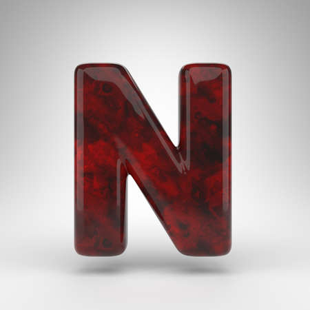 Letter N uppercase on white background. Red amber 3D rendered font with glossy surface.