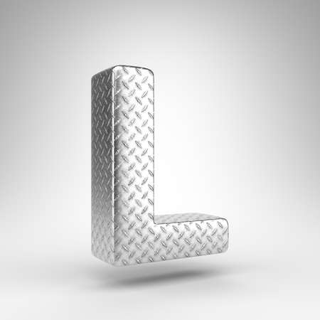 Letter L uppercase on white background. Aluminium 3D rendered font with checkered plate texture.