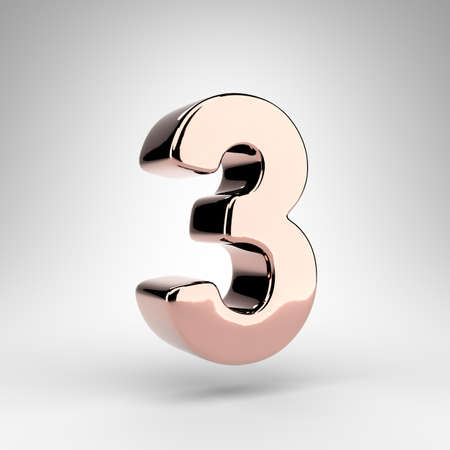 Number 3 on white background. Rose gold 3D rendered number with gloss chrome surface.