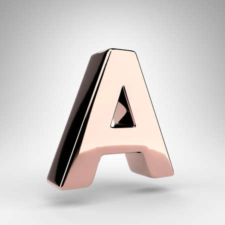 Letter A uppercase on white background. Rose gold 3D rendered font with gloss chrome surface.