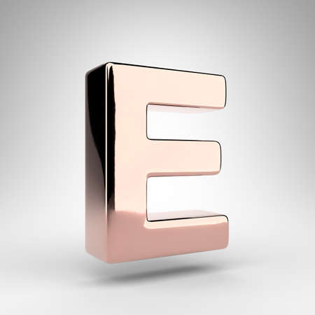 Letter E uppercase on white background. Rose gold 3D rendered font with gloss chrome surface.