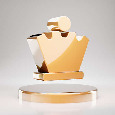 Chess Queen icon. Yellow Gold Chess Queen symbol on golden podium. 3D rendered Social Media Icon.