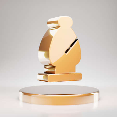 Chess Bishop icon. Yellow Gold Chess Bishop symbol on golden podium. 3D rendered Social Media Icon.