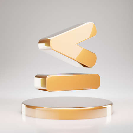 Less Than or Equal icon. Yellow Gold Less Than or Equal symbol on golden podium. 3D rendered Social Media Icon.