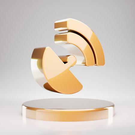 Satelite Dish icon. Yellow Gold Satelite Dish symbol on golden podium. 3D rendered Social Media Icon.