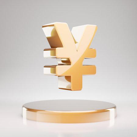 Yen icon. Yellow Gold Yen symbol on golden podium. 3D rendered Social Media Icon. Reklamní fotografie
