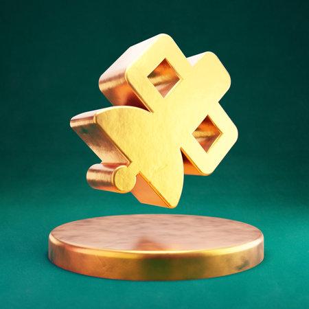 Satelite icon. Fortuna Gold Satelite symbol with Tidewater Green background. Social Media Icon.