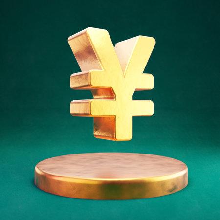Yen icon. Fortuna Gold Yen symbol with Tidewater Green background. Social Media Icon.