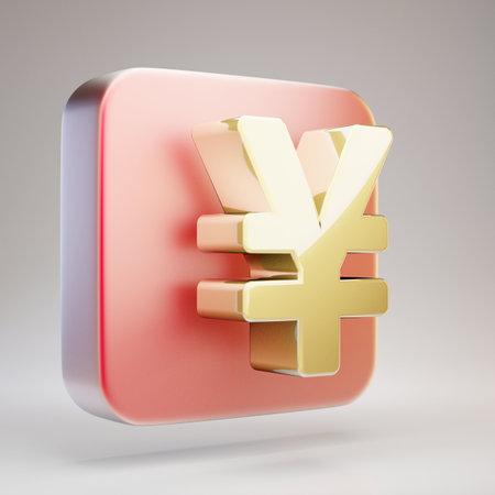 Yen icon. Golden Yen symbol on red matte gold plate. 3D rendered Social Media Icon.
