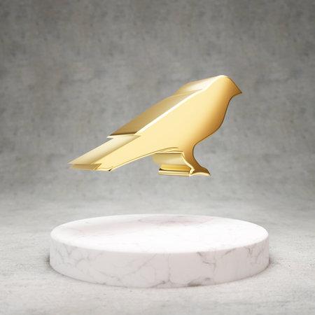 Kusama cryptocurrency icon. Gold 3d rendered Kusama symbol on white marble podium.